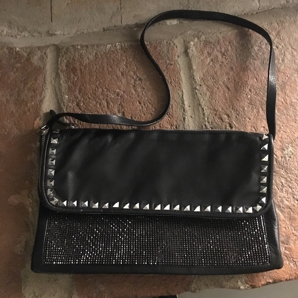9b49f7de2c3 Zara Bags | Woman Leather Studded Foldover Clutch | Poshmark